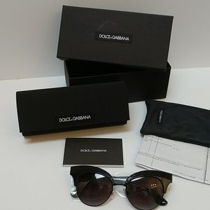 NWT Dolce & Gabbana Cat Eye Embellished Sunglasses
